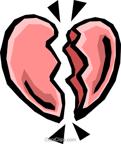 402x480 Broken Heart Royalty Free Vector Clip Art Illustration Even0325
