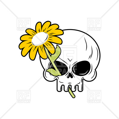 400x400 Cute Cartoon Skull And Daisy, Head Of Skeleton And Plant Royalty