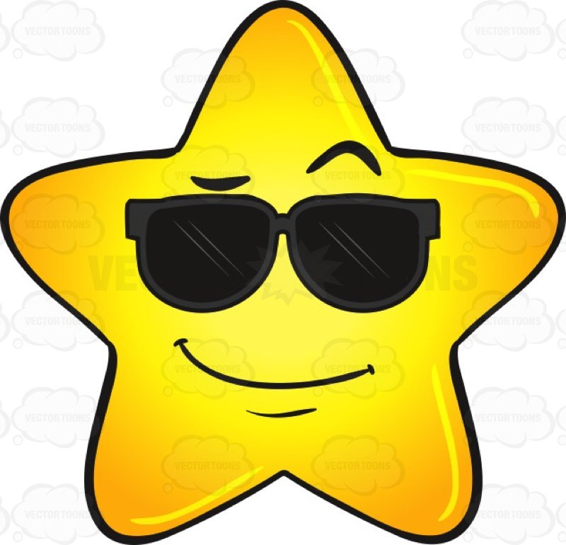 800x770 Cool Gold Star Wearing Sunglasses Emoji Cartoon Clipart Vector Toons