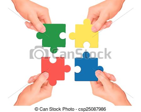 450x357 Cooperation Concept Hands Holding Jigsaw Pieces Over White