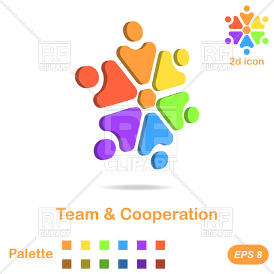 400x400 Team And Cooperation Conceptual Icon Royalty Free Vector Clip Art