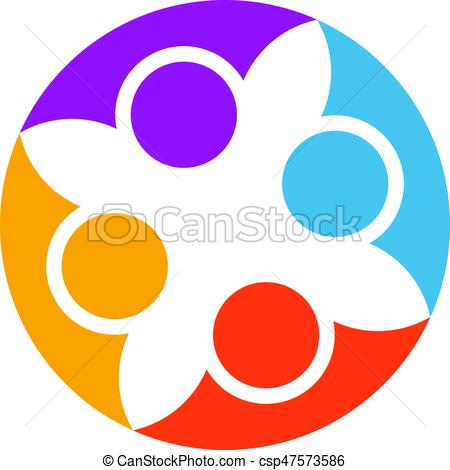 450x470 Abstract People Cooperation. Vector Logo Design Template