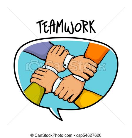 450x470 Teamwork Concept. Stack Of Business Hands. Cooperation Vector