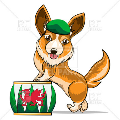 400x400 Corgi Dog With Stand In Cartoon Style Royalty Free Vector Clip Art