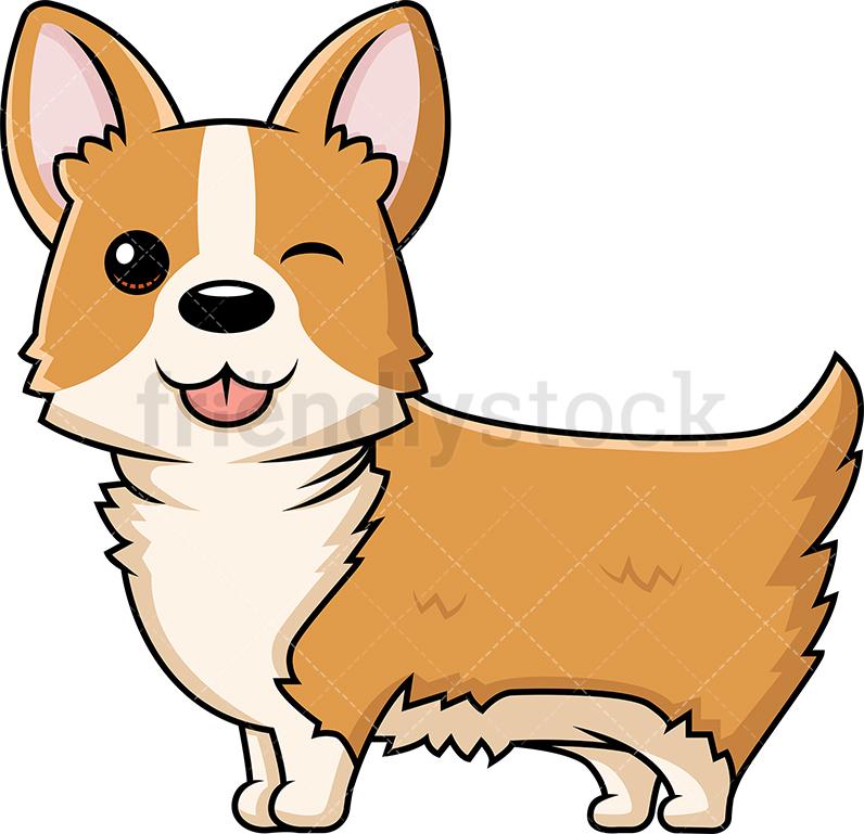 796x769 Cute Corgi Dog Winking Cartoon Vector Clipart