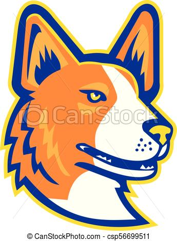 345x470 Cardigan Welsh Corgi Head Mascot. Mascot Icon Illustration