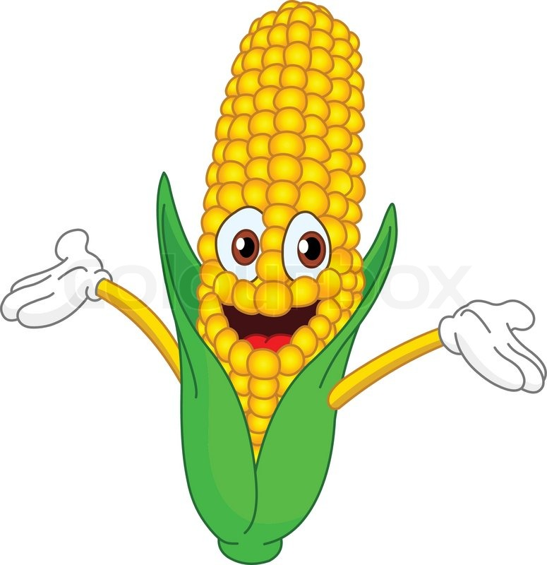 775x800 Cheerful Cartoon Corn Raising His Hands Stock Vector Colourbox