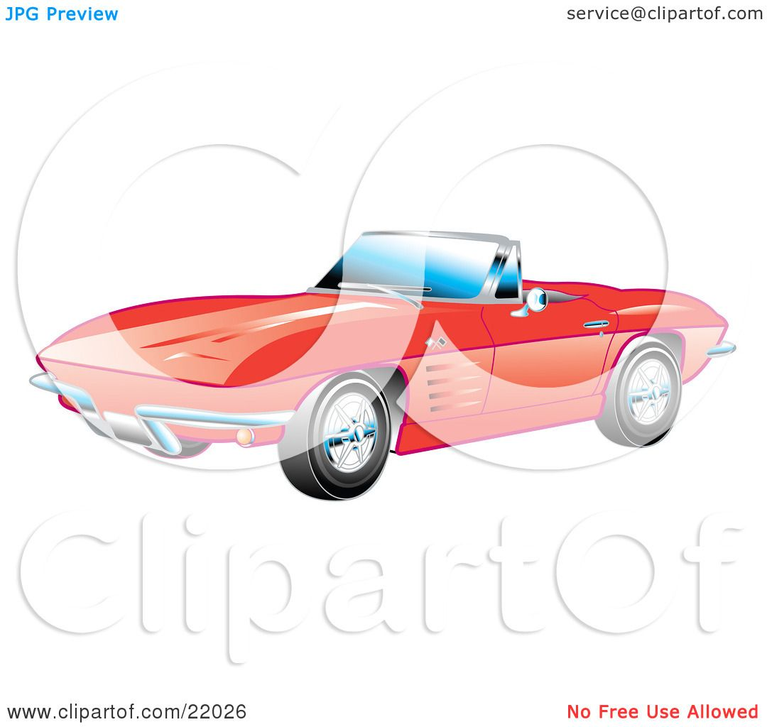 1080x1024 Clipart Illustration Of A Red 1963 Convertible Chevrolet Corvette