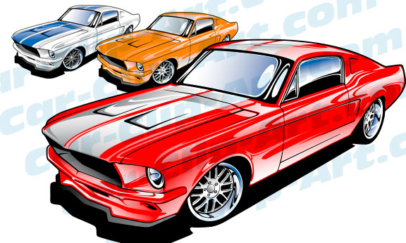 576x346 1967 Ford Mustang Vector Art Car Clip