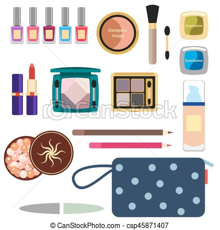 450x470 Female Cosmetics Large Set In A Flat Style Isolated On A Vector