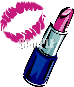 299x350 Picture Of A Tube Of Lipstick And A Lip Print In A Vector Clip Art