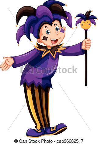 322x470 Jester In Purple Costume Illustration Vector Clip Art