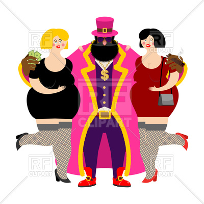 400x400 Pimp In Pink Costume And Prostitutes Royalty Free Vector Clip Art