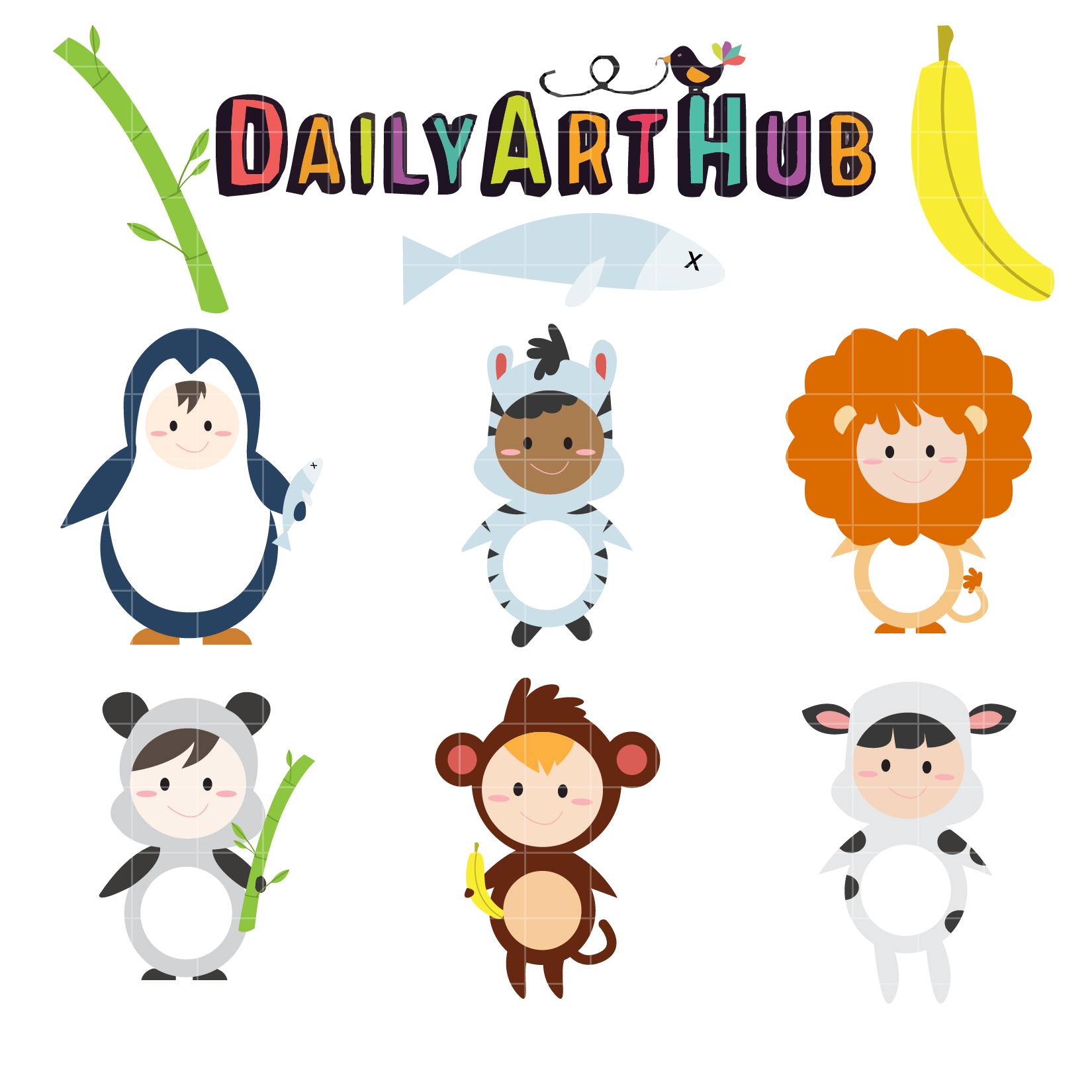 1650x1650 Children Animal Costume Clip Art Set Daily Art Hub Free Clip