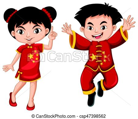 450x389 Chinese Boy And Girl In Red Costume Illustration Clip Art Vector