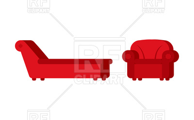 400x248 Red Couch And Chair Of Psychologist Royalty Free Vector Clip Art