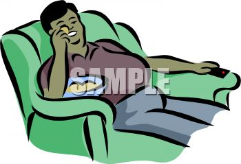 350x239 Royalty Free Clipart Image Fat Guy Sitting On A Couch Eating