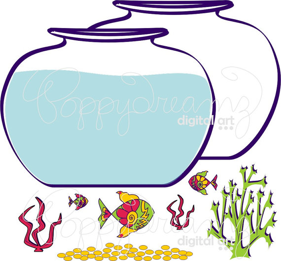 570x530 Fish Bowl Clip Art Pack (300 Dpi) Digital Images Fish Bowl