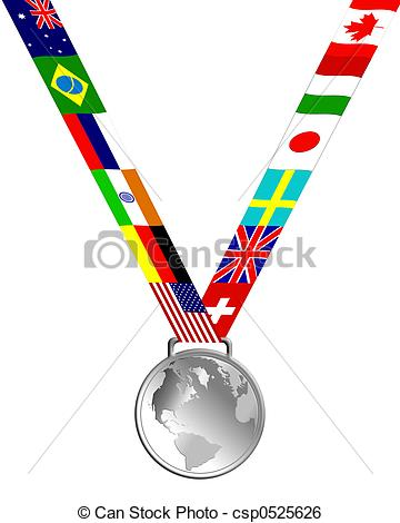 360x470 Silver Medal Of Globe And Country Flags Stock Illustration