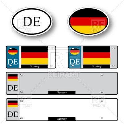400x400 Template Of Car Plate Number With Flag Of Germany And Oval Country