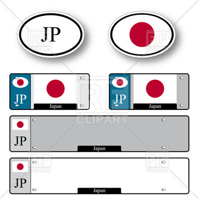 400x400 Template Of Car Plate Number With Flag Of Japan And Oval Country