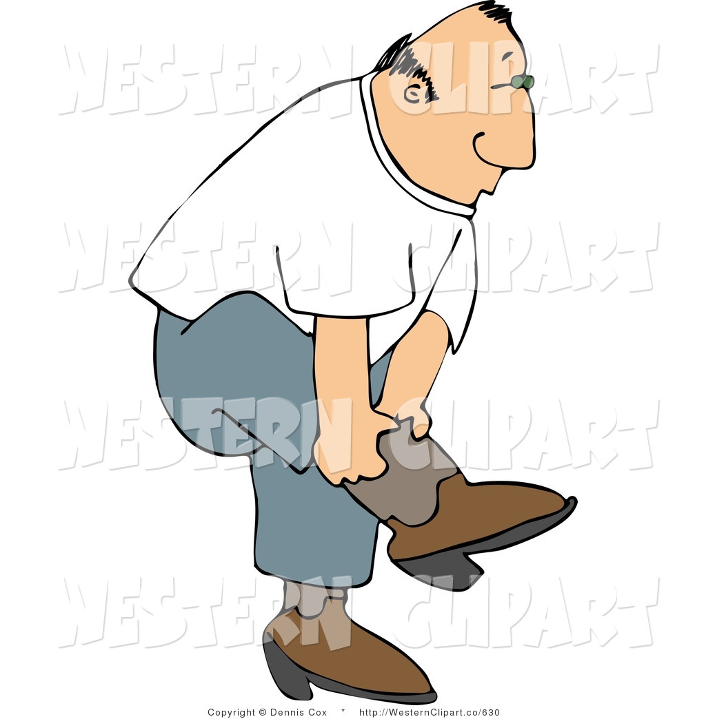 1024x1044 Western Clip Art Of A Country Man Bending And Putting On His