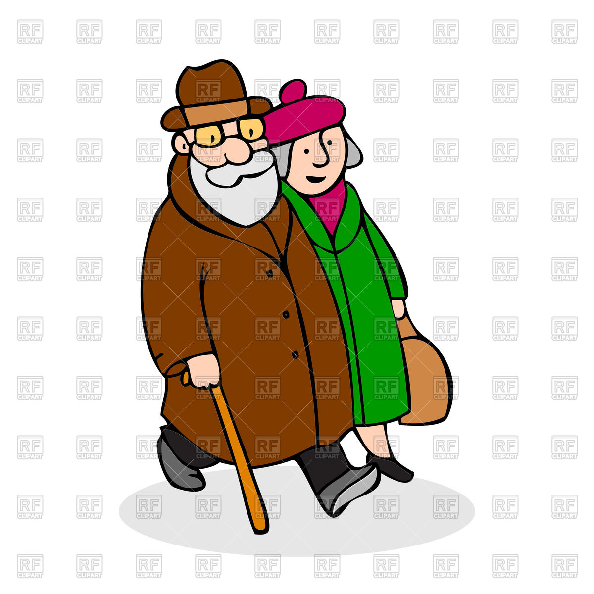 1200x1200 Happy Elderly Couple Walking Royalty Free Vector Clip Art Image