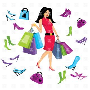300x300 Photocartoon Couple Shopping Vector Clip Art Illustration