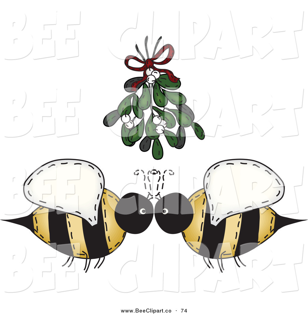 1024x1044 Vector Clip Art Of A Cute Folk Art Bee Couple Under Mistletoe By
