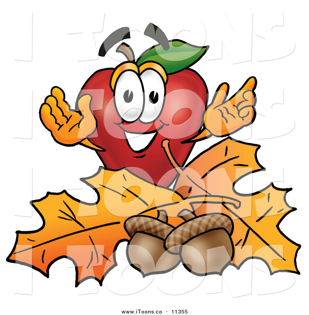 1024x1044 Clip Art Of A Grinning Red Apple Character Mascot With Acorns