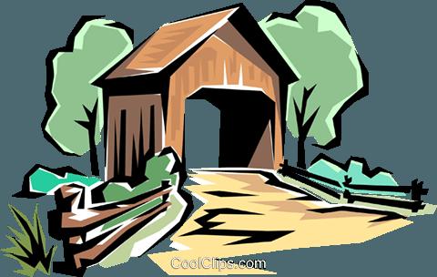 480x304 Covered Bridge Royalty Free Vector Clip Art Illustration Natu0168