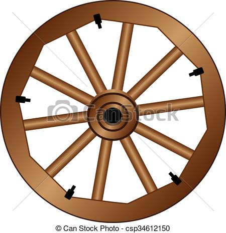 450x465 Wooden Wheel For An Old Wagon. Vintage Wooden Wheel. Clipart