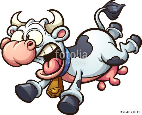 500x405 Crazy Cartoon Cow Running Scared. Vector Clip Art Illustration