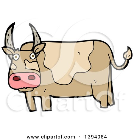 450x470 Clipart Of A Cartoon Black And White Lineart Long Haired Cow Bull