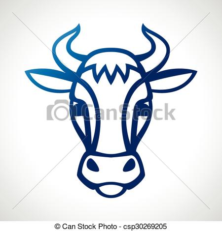 450x470 Cow Head Silhouette Emblem Design On White Background. Vector