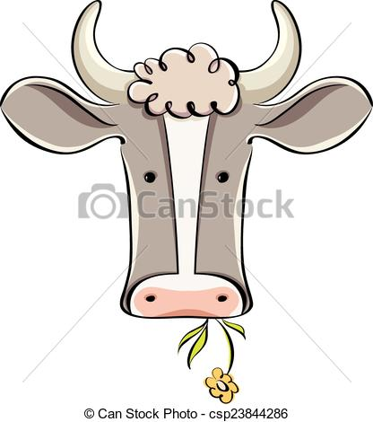 416x470 Cow Head. Cow Head Vector Cartoon Style Illustration. Vector