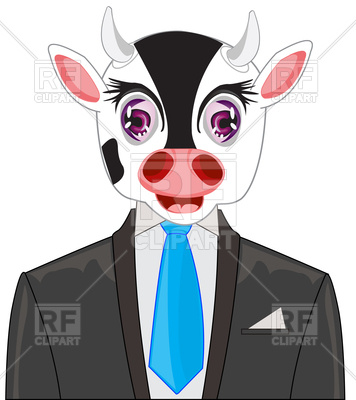 356x400 Cow In Suit With Tie Royalty Free Vector Clip Art Image