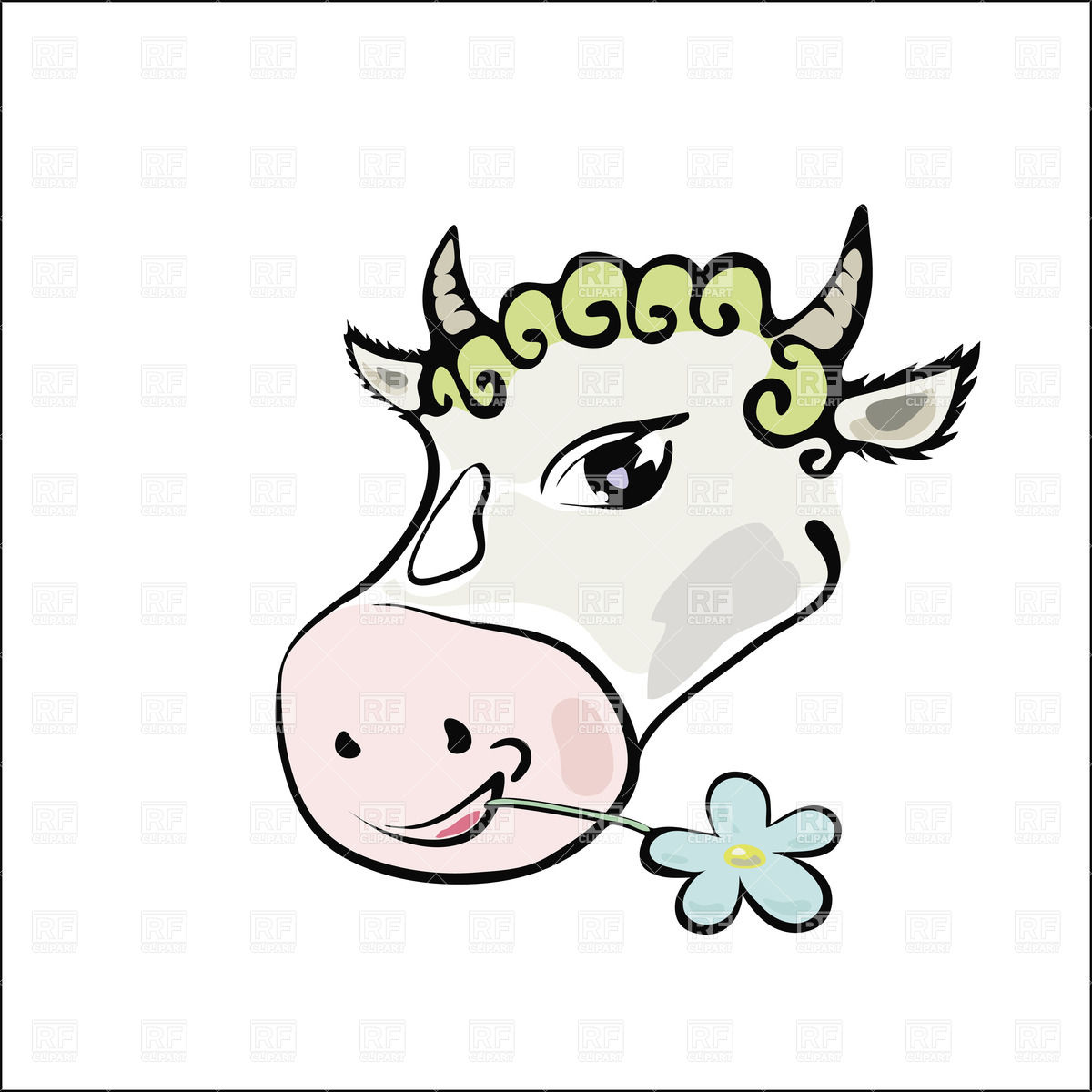 1200x1200 Simple Drawn Cow With Flower Royalty Free Vector Clip Art Image