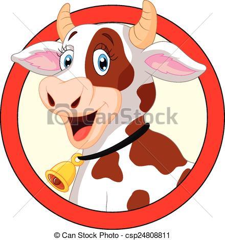 440x470 Vector Illustration Of Happy Cartoon Cow Vector Clip Art