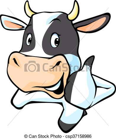 392x470 Black And White Cow Cartoon Illustration With Thumb Up.eps