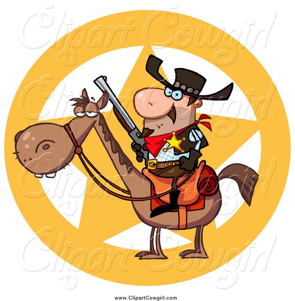 1024x1044 Clipart Of A Sheriff Star And Cowboy On A Horse By Hit Toon