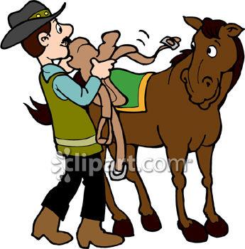 345x350 Cowboy Saddling His Horse
