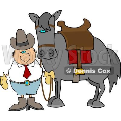 400x400 Cowboy Standing Beside A Saddled Horse Clipart Djart