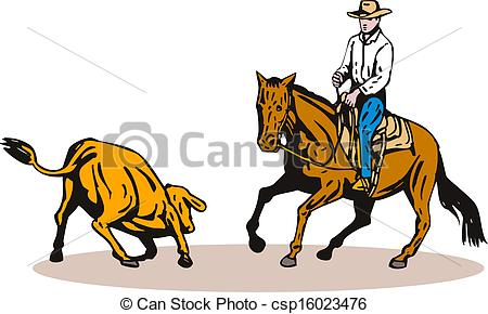 450x290 Rodeo Cowboy Horse Riding. Illustration Of Rodeo Cowboy Stock