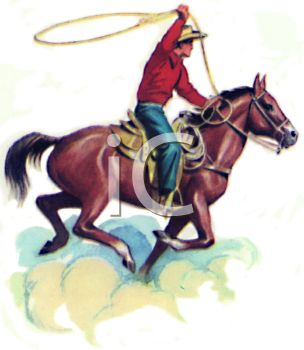304x350 Clip Art Illustration Of A Cowboy On A Horse