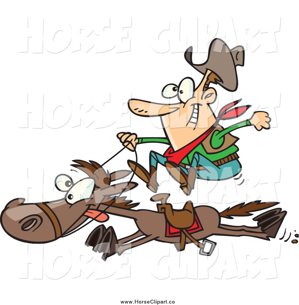 1024x1044 Clip Art Of A Cartoon White Male Cowboy On A Galloping Horse By