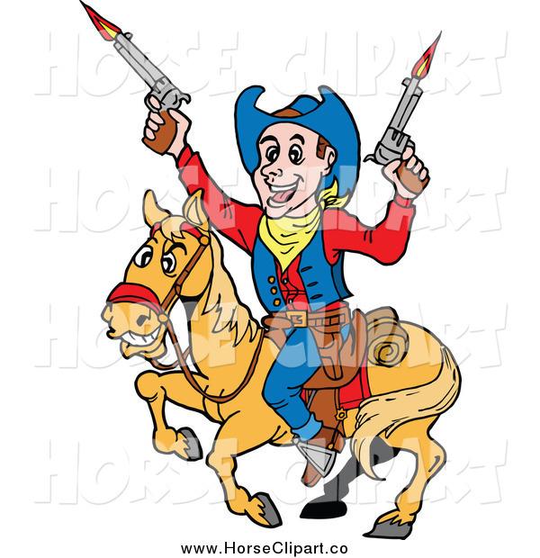 600x620 Clip Art Of A Cowboy Firing Guns On Horseback By Lafftoon