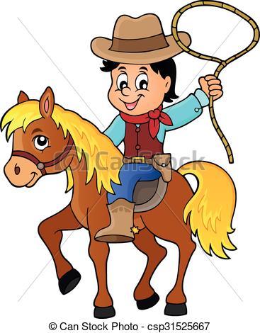 367x470 Cowboy On Horse Theme Image 1 Clip Art Vector