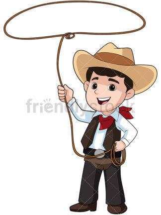 324x432 Cute Kid Wearing Cowboy Hat Cartoon Vector Clipart