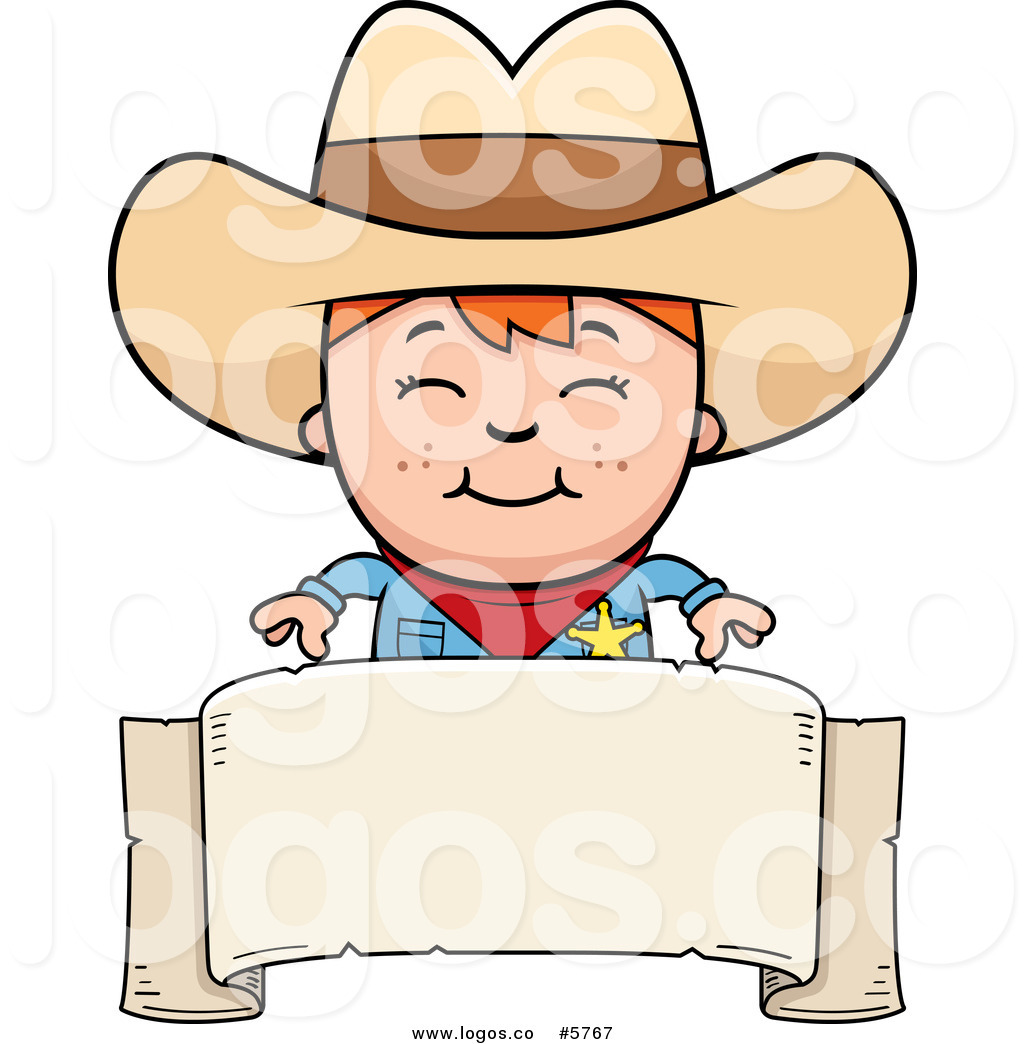 1024x1044 Royalty Free Vector Of A Logo Of A Smiling Sheriff Cowboy Kid Over
